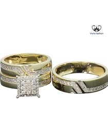 1.90 ct diamond his her engagement trio ring set w/ wedding band 14k gold plated