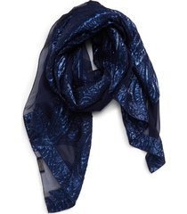 women's etro tassel jacquard silk blend scarf, size one size - blue