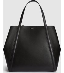 reiss norton - leather tote bag in black, womens