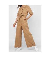 macacão sarja colcci pantalona color bege