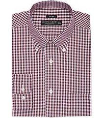 pronto uomo burgundy check button-down dress shirt