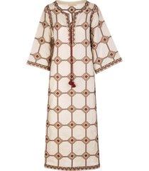 tory burch long dress with geometric print