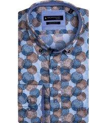giordano overhemd blauw bruin geprint