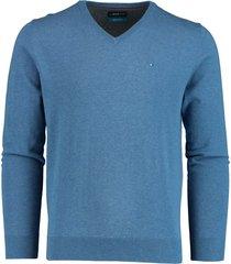 bos bright blue pullover v-hals blauw katoen 20305vi01bo/268 jeans blue