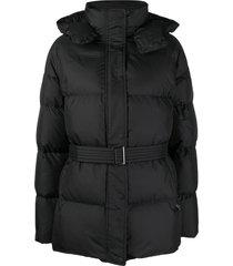 12 storeez belted padded coat - black