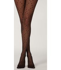 calzedonia polka dots and diamond patterned tights woman black size 3/4