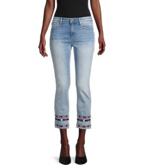 driftwood women's colette embroidery cropped jeans - light wash - size 25 (2)