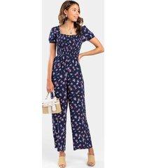 elexa smocked floral jumpsuit - navy