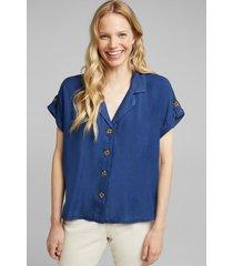 blusa en 100% lyocell azul oscuro esprit