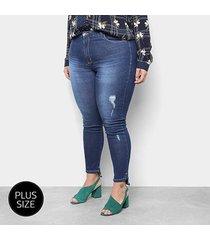calça jeans skinny razon estonada cintura média plus size feminina