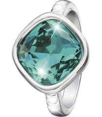 anello in metallo rodiato e pietre colore per donna