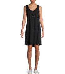 splendid women's henley t-shirt dress - black - size xs