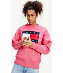 tommy hilfiger men's tommy flag sweatshirt light cerise pink - xl