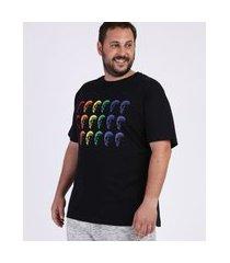 camiseta masculina plus size pride caveiras manga curta gola careca preta