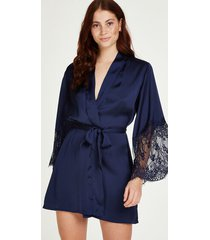 hunkemöller kimono satin blå