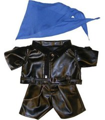 "biker outfit teddy bear clothes fits most 14"" - 18"" build-a-bear, vermont teddy"