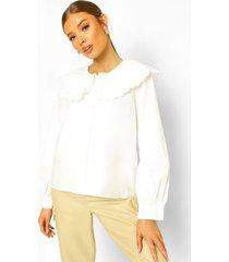 gesmokte katoenen poplin blouse met extreme kraag, white