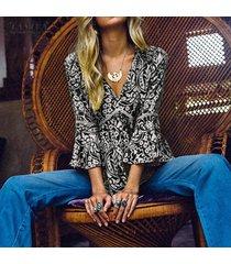 zanzea mujeres impresión floral abocinada camisa de manga tops túnicas delgada blusa de v profundo tops plus -negro