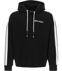 palm angels hooded sweatshirt with logo and bands