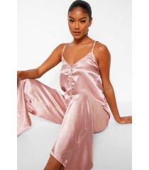 premium pyjama set met steentjes en knopen, rose gold
