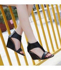 sandalias con cuña de tobillo con punta abierta de verano