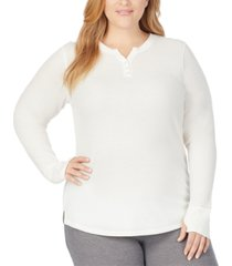 cuddl duds plus size stretch thermal long-sleeve henley top