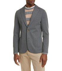 men's eleventy slim fit jersey sport coat, size 56 r eu - grey