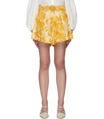 'mae palm' belted tuck shorts