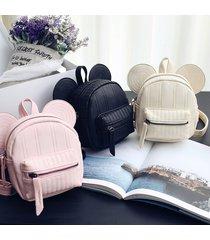 women leather mini backpack cute mouse mickey book bag shoulder rucksack satchel