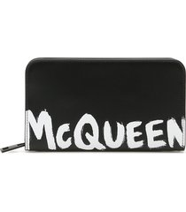 alexander mcqueen logo zip-around wallet