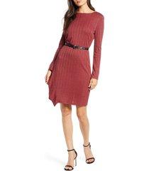 women's sam edelman asymmetrical ruffle long sleeve knit dress, size 6 - brown