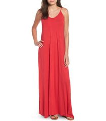 petite women's loveappella maxi dress, size petite p - red
