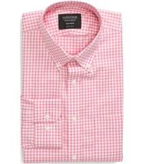 men's big & tall nordstrom men's shop traditional fit non-iron gingham dress shirt, size 17 - 36/37 - pink