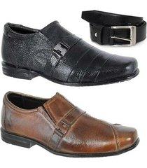 kit 2 pares sapato social infantil e um cinto couro leoppé - masculino