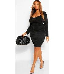 plus getextuurde strakke geplooide bodycon jurk, zwart