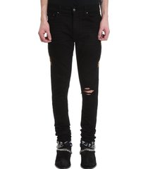 amiri leopard half jeans in black denim