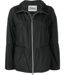 herno flared zip-up jacket - black