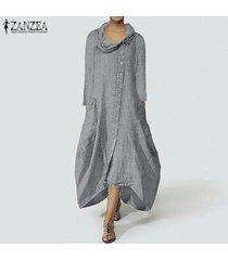 zanzea mujeres camisa con botones vestido asimétrico flojo irregular midi vestido más del tamaño -gris claro