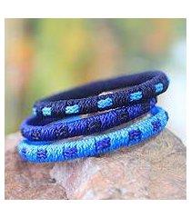bangle bracelets, 'azure fantasy' (set of 3) (ghana)