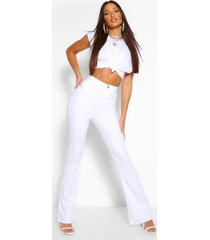 tall white denim flared jeans, white
