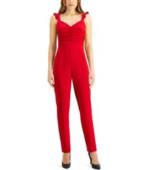 almost famous juniors' ruffled-strap jumpsuit