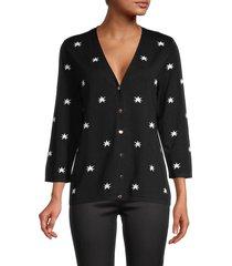 t tahari women's star-print snap-front cardigan - black white - size m