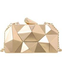 bolsa clutch liage geometrica alça removível acrílico metal dourada