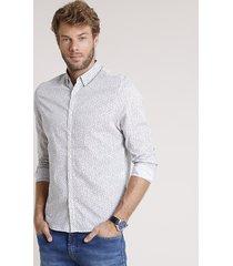 camisa masculina comfort fit estampada floral manga longa branca