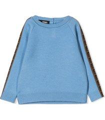 fendi blue virgin wool sweater