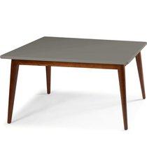 mesa de madeira retangular 140x90 cm novita 609 cacau/cinza - maxima