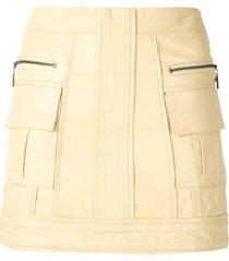 andrea bogosian panleld leather skirt - yellow