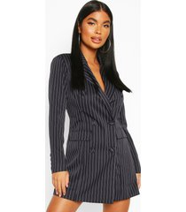 petite double breasted pinstripe belted blazer dress, navy