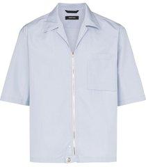 nulabel zip up cotton shirt - blue