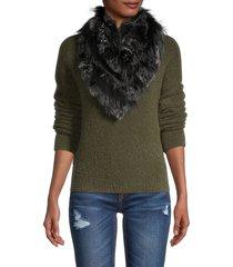 furlux women's rabbit fur bandana cowl scarf - black